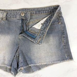 LC Lauren Conrad Striped Denim Cut Off Shorts 10